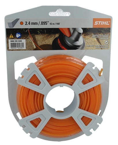 Genuine Stihl Trimmer line SQUARE (ORANGE) 2.4mm x 43M Product Code 0000 930 2640